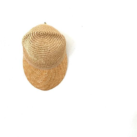 vintage straw baseball cap wide brimmed hat by