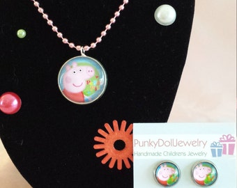 """Peppa Pig """"Pink"""" Jewelry Set with Necklace & 3 Pairs Small Stainless Steel Stud Earrings in Gift  Box for Girls"""