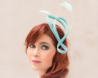 Bridal hairpiece sinamay loops feathers mint aqua wedding headpieces