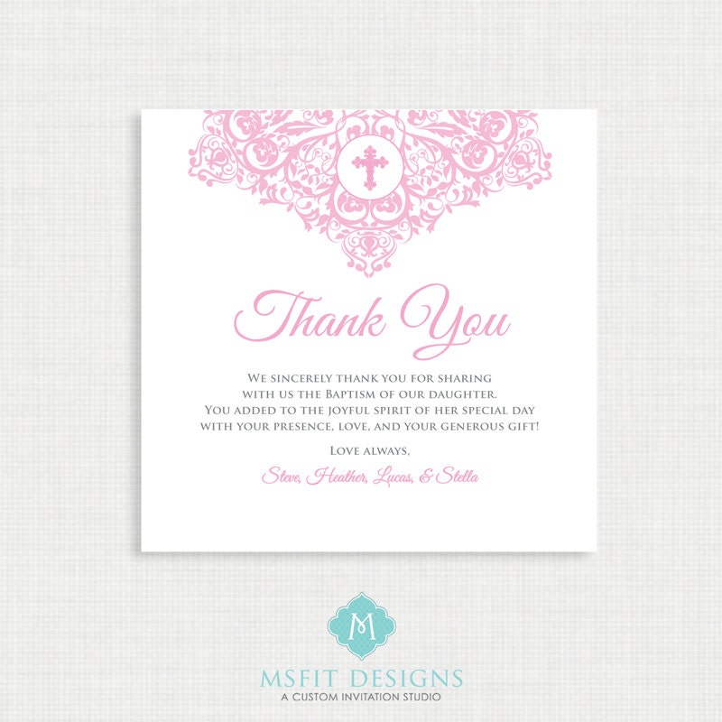Printable Baptism Thank You Card - DIY Printable Thank you ...