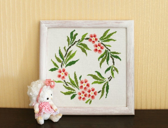 Items similar to cross stitch pattern vintage wreath