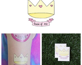 Colorful Cartoon Queen Crown Hearts Banner Body Art Temporary Tattoo Pack (Set of 2)