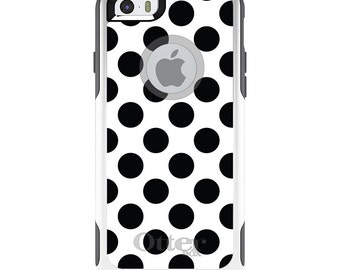 OtterBox Commuter for Apple iPhone 5S SE 5C 6 6S 7 8 PLUS X 10 - Custom Monogram - Any Colors - Black & White Polka Dots