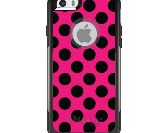 OtterBox Commuter for Apple iPhone 5S SE 5C 6 6S 7 8 PLUS X 10 - Custom Monogram - Any Colors - Black & Hot Pink Polka Dots