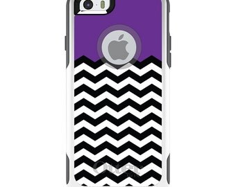 OtterBox Commuter for Apple iPhone 5S SE 5C 6 6S 7 8 PLUS X 10 - Custom Monogram - Any Colors - Black White Purple Chevron
