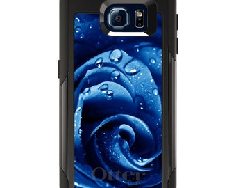 OtterBox Commuter for Galaxy S4 / S5 / S6 / S7 / S8 / S8+ / Note 4 5 8 - CUSTOM Monogram - Any Colors - Blue Dew Covered Rose