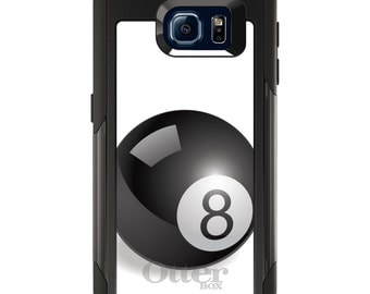 OtterBox Commuter for Galaxy S4 / S5 / S6 / S7 / S8 / S8+ / Note 4 5 8 - CUSTOM Monogram - Any Colors - Black Eight Ball 8