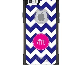 OtterBox Commuter for Apple iPhone 5S SE 5C 6 6S 7 8 PLUS X 10 - Custom Monogram or Image - Blue White Pink Chevron Name