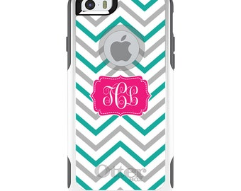 OtterBox Commuter for Apple iPhone 5S SE 5C 6 6S 7 8 PLUS X 10 - Custom Monogram or Image - Teal Grey White Chevron Stripes