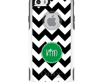 OtterBox Commuter for Apple iPhone 5S SE 5C 6 6S 7 8 PLUS X 10 - Custom Monogram or Image - Black White Chevron Green Circle