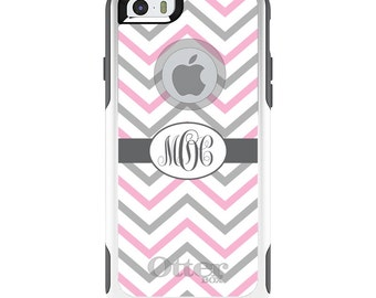 OtterBox Commuter for Apple iPhone 5S SE 5C 6 6S 7 8 PLUS X 10 - Custom Monogram or Image - Pink White Grey Chevron Stripes