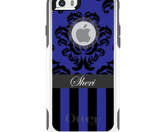 OtterBox Commuter for Apple iPhone 5S SE 5C 6 6S 7 8 PLUS X 10 - Custom Monogram or Image - Blue Damask Black Blue Stripes