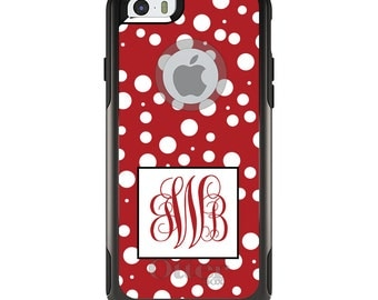 OtterBox Commuter for Apple iPhone 5S SE 5C 6 6S 7 8 PLUS X 10 - Custom Monogram or Image - Red White Dots Red Initials