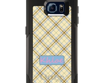 OtterBox Commuter for Galaxy S4 / S5 / S6 / S7 / S8 / S8+ / Note 4 5 8 - CUSTOM Monogram Name Initials - Blue Black Yellow Tan Plaid