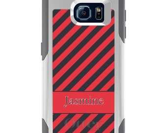 OtterBox Commuter for Galaxy S4 / S5 / S6 / S7 / S8 / S8+ / Note 4 5 8 - CUSTOM Monogram Name Initials - Salmon Grey Stripes Name