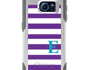 OtterBox Commuter for Galaxy S4 / S5 / S6 / S7 / S8 / S8+ / Note 4 5 8 - CUSTOM Monogram Name Initials - Purple White Teal Stripes