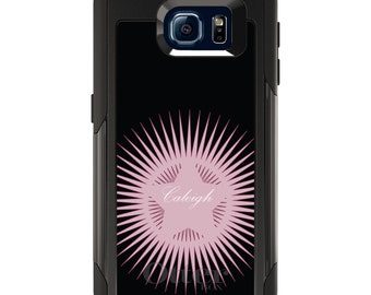 OtterBox Commuter for Galaxy S4 / S5 / S6 / S7 / S8 / S8+ / Note 4 5 8 - CUSTOM Monogram Name Initials - Black Pink Star Burst Name