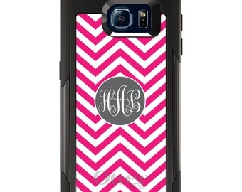 OtterBox Commuter for Galaxy S4 / S5 / S6 / S7 / S8 / S8+ / Note 4 5 8 - CUSTOM Monogram Name Initials - Hot Pink White Grey Chevron Circle