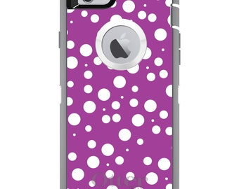 Polka Dot OtterBox Defender / Apple iPhone OR Samsung Galaxy / Fuchsia White Bubble / Custom Personalized Monogrammed / Any Color / Any Font