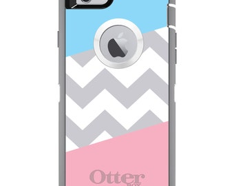 Chevron Block OtterBox Defender / Apple iPhone OR Samsung Galaxy / Pink Blue Grey / Custom Personalized Monogrammed / Any Color / Any Font
