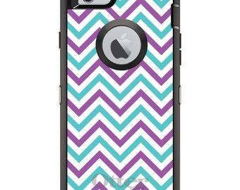 CUSTOM OtterBox Defender Case for Apple iPhone 6 6S 7 8 PLUS X 10 - Personalized Monogram - Purple Teal Chevron Stripes