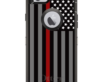Thin Red Line OtterBox Defender / Apple iPhone OR Samsung Galaxy / Fire Department / Custom Personalized Monogrammed / Any Color / Any Font