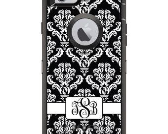 CUSTOM OtterBox Defender Case for Apple iPhone 6 6S 7 8 PLUS X 10 - Personalized Monogram - Black White Damask Ribbon