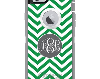 CUSTOM OtterBox Defender Case for Apple iPhone 6 6S 7 8 PLUS X 10 - Personalized Monogram - Green White Grey Chevron Circle