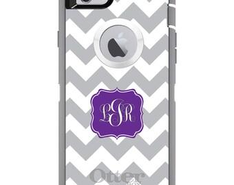 CUSTOM OtterBox Defender Case for Apple iPhone 6 6S 7 8 PLUS X 10 - Personalized Monogram - Grey White Chevron Purple Frame