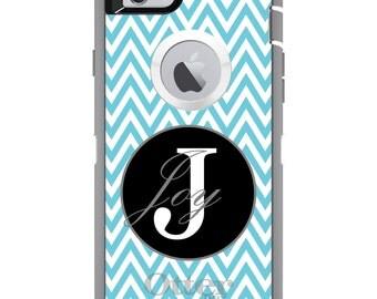 CUSTOM OtterBox Defender Case for Apple iPhone 6 6S 7 8 PLUS X 10 - Personalized Monogram - Blue White Chevron Gray