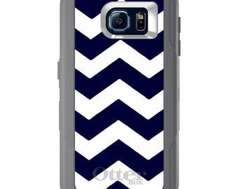 Custom OtterBox Defender for Galaxy S5 S6 S7 S8 S8+ Note 5 8 Any Color / Font - Navy Blue White Chevron Stripes