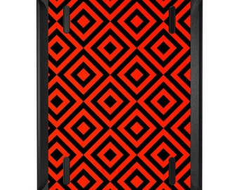 Custom OtterBox Defender for Apple iPad 2 3 4 / Air 1 2 / Mini 1 2 3 4 - CUSTOM Monogram - Black Red Diamond Pattern Geometric