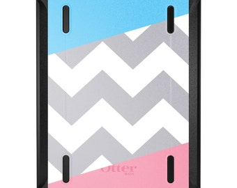 Custom OtterBox Defender for Apple iPad 2 3 4 / Air 1 2 / Mini 1 2 3 4 - CUSTOM Monogram - Pink Blue Block Grey Chevron