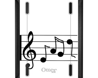 Custom OtterBox Defender for Apple iPad 2 3 4 / Air 1 2 / Mini 1 2 3 4 - CUSTOM Monogram - Treble Staff Music Notes