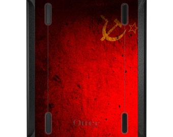 Custom OtterBox Defender for Apple iPad 2 3 4 / Air 1 2 / Mini 1 2 3 4 - CUSTOM Monogram - USSR Soviet Flag Old