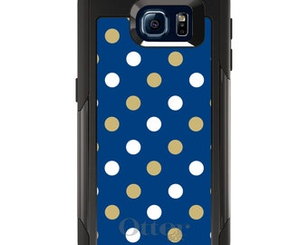 OtterBox Commuter for Galaxy S4 / S5 / S6 / S7 / S8 / S8+ / Note 4 5 8 - University of Pittsburgh Pitt Panthers Colors - Polka Dots Pattern