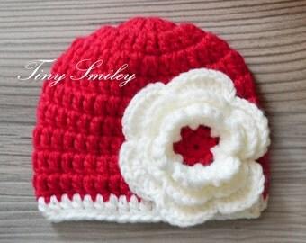 Red Baby Hat, Crochet Baby Girl Hat, Flower Baby Hat, Chunky Girl Hat, Baby Girl, Infant Hats, Hospital Baby Girl Hat, Baby Gift, Girl Hats
