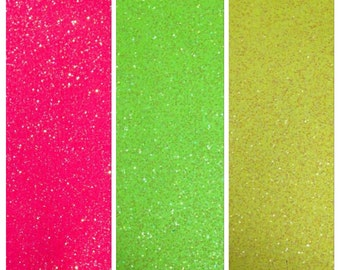 3 pack of NEON fine Glitter Fabric
