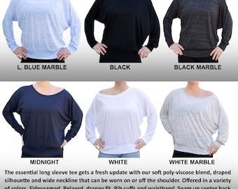 Custom GLITTER FLAKE VINYL Colors Dolman Long Sleeved Shirt Wide Neck Women's Flowy Off Shoulder Tee Sizes Measurements Bat winged shirt