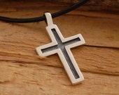 Oxidized Silver Cross Necklace, Modern Cross Pendant for Men or Women, Unique Christian Jewelry, Ask for engraved message on the back, ST362