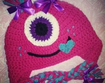 Crochet girl monster hat