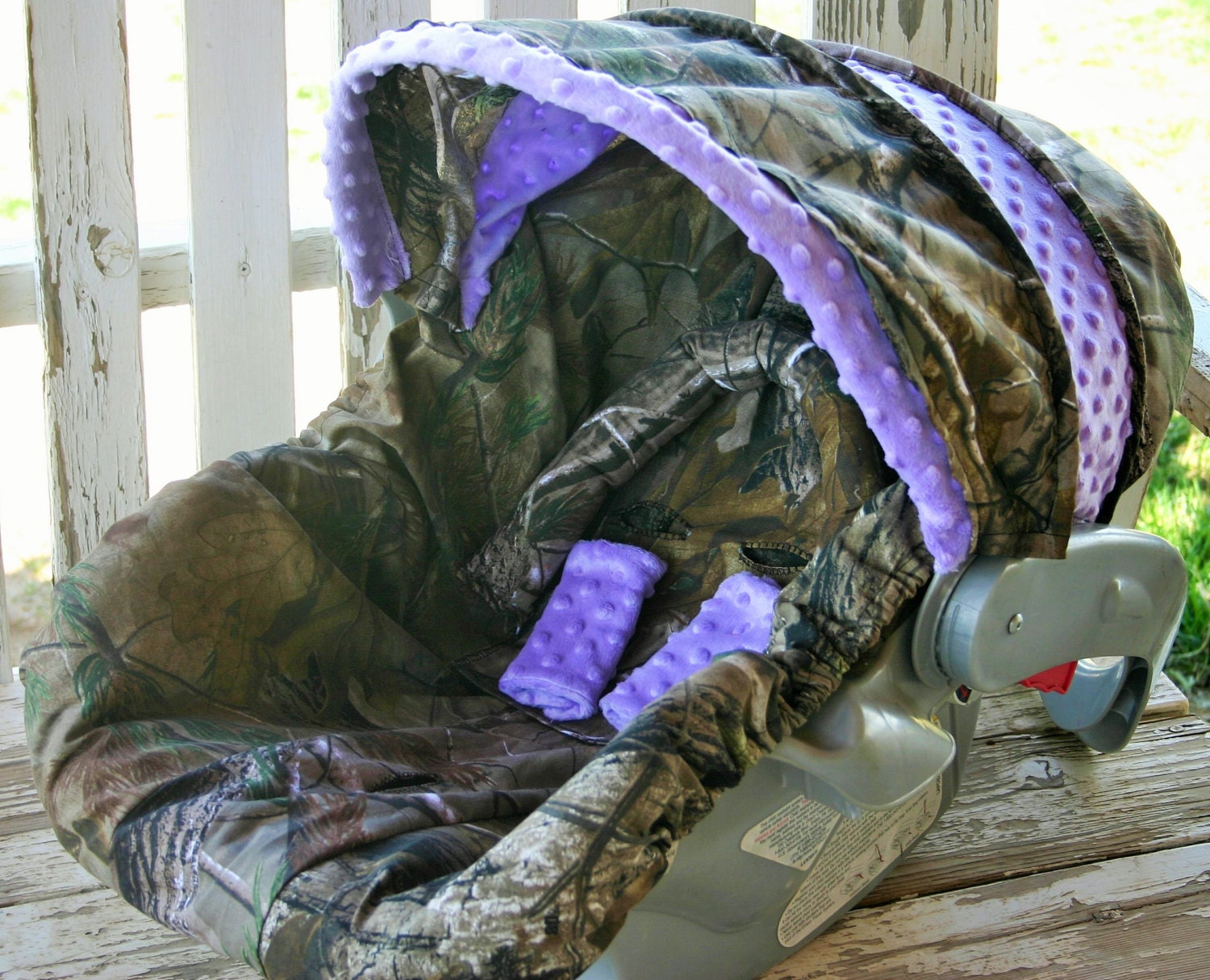 Realtree Camo W Light Purple Car Seat Cover And Hood Cover W