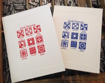 """Letterpress Note Cards """"Quilt Patterns"""" - Set of 10 cards with matching envelopes"""