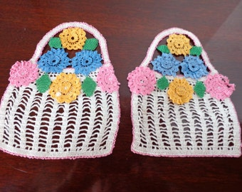 Two filet crochet baskets, trimmed with flowers-damaged-supplies