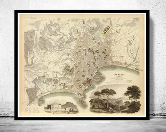 Old Map of Napoli Naples, City Plan Italia 1835 Antique Vintage Italy