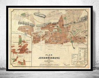 Old Map of Johannesburg South Africa 1897