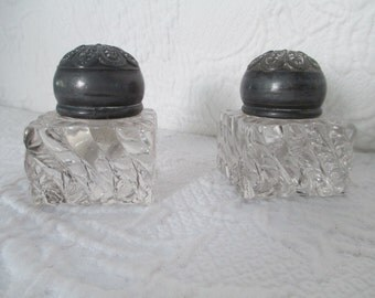 Pair of pewter topped inkwells