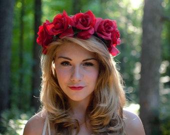 Romance Romance Flower Crown Big Red Rose Flower Headband Hair Wreath Wedding Lana Del Rey festival CWERKY