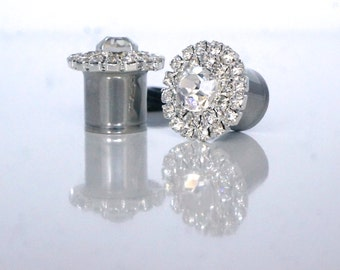 "Diamond Tunnel Plugs 00g 7/16"" 1/2"" 9/16"" Wedding Gauges 10mm 11mm 12mm 14mm"