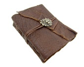 Leather book Terra lion gold Buffalo Leather - diary, journal, notebook or travel diary